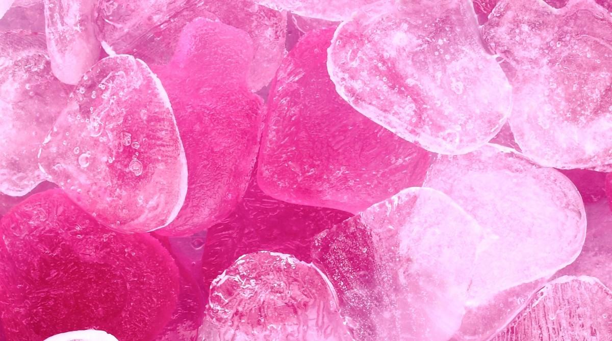 Dark pink ice cubes
