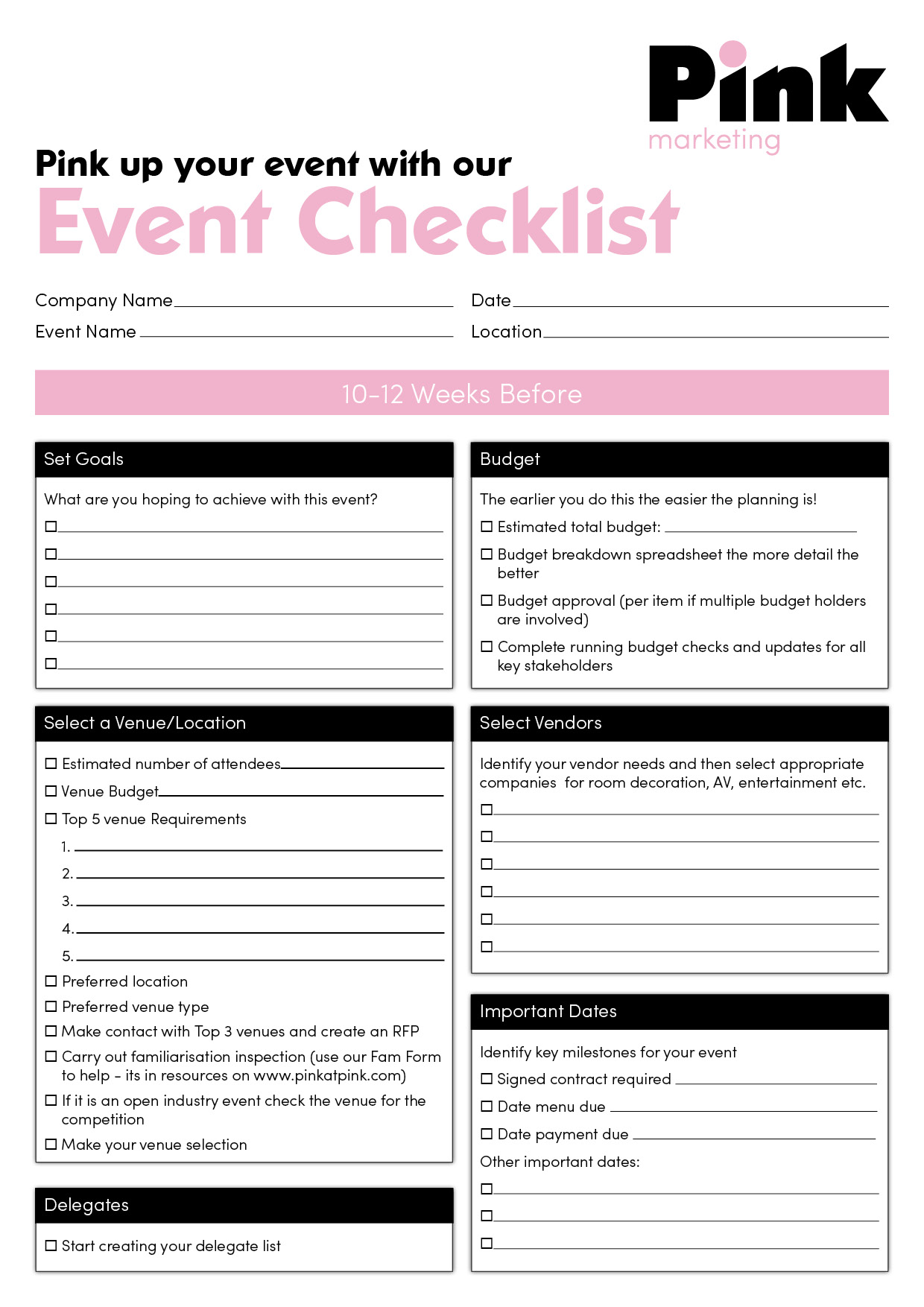 Event checklist pink for Template for planning an event